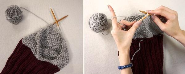 輪針編み中